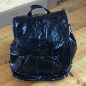 Black genuine leather backpack Excellent condition